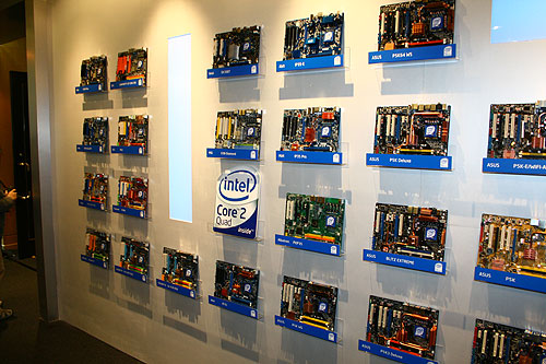 Intel's booth at TICC (Hall 4) greeted us with a wall of new Intel 3 Series motherboards.