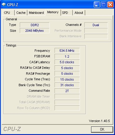 SPD timings for the AENEON XTUNE DDR2-1066 running in dual channel mode.