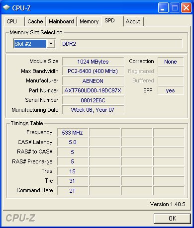 CPU-Z SPD information shows detailed information on the DIMM module. Notice it has EPP information. Chips used also seem to be standard DDR2-800 memory, which is probably hand picked to run at 1066MHz.
