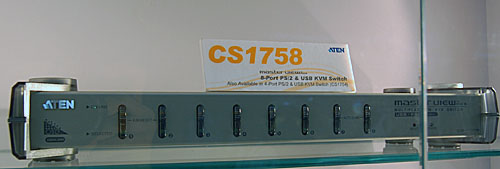 ATEN's bread and butter business is well represented at the booth, like this 8-port USB and PS/2 KVM switch.