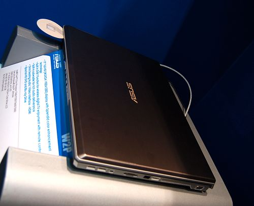 Here's the same ASUS W2P notebook showing off its cool aluminum finished lid.