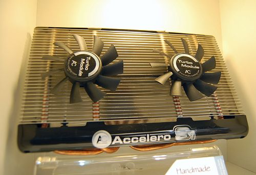 New to come from them are their affordable and passive GPU coolers, the Accelero S1 and S2 products. We've reviewed the S2 variant just days ago if you are keen to find out more about its performance. Shown here is the optional Turbo Module for the S1 and S2. It consists of dual 80mm fans designed to be mounted on all-passive cooler to further enhance cooling performance. They'll be available sometime in April.