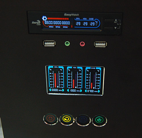 AeroCool's iCurve+ chassis comes with a fan control and temperature monitoring system like the display shown here. This mid-tower chassis has four 5.25-inch external bays and an adjustable hard drive cage. No screws are required, making this quite the user friendly installation.