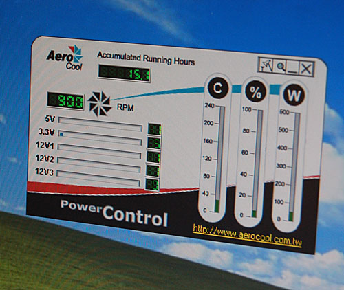 AeroCool's software control panel. Temperatures, voltages and fan speed are the usual variables measured and reported.