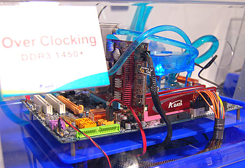 Like many memory vendors, A-DATA has DDR3 memory modules on show, like this demo system being overclocked.