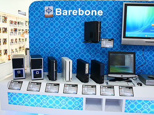 At MSI's booth, we saw a steady line-up of barebone systems for system integrators too. Although not your typical hardcore products, these systems are extremely suited for the office and general computing.