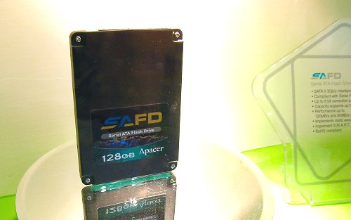 Apacer has 128GB SATA 3.0Gbps SSD drives available that offers 120MB/80MB read/write performance.