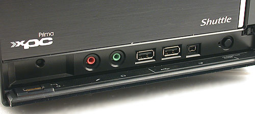 The fingerprint sensor here (left corner) is something we don't usually find on a desktop. Besides the usual plethora of front I/O ports, there's a USB Speed-Link button that allows two PCs to be linked via the USB channel for easy file transfers without the need for drivers.