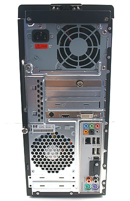 Even from the rear, you can see that the chassis of this desktop is not your conventional ATX arrangement but BTX instead.