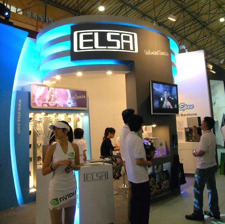Elsa's booth at this year's Computex showing off not only their usual GPU offerings, but also their niche barebones.