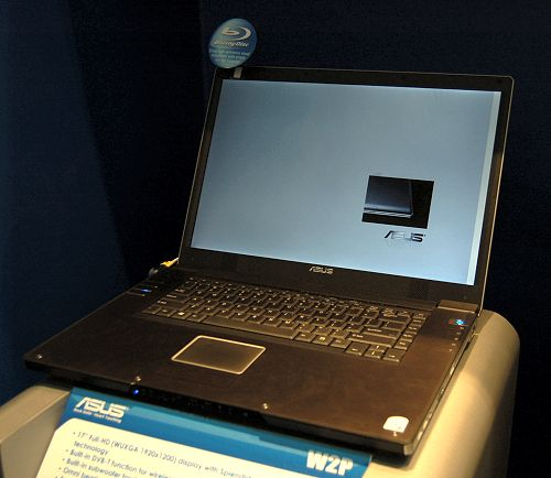 On to their notebook section, ASUS has quite a bit of new models either just barely released or will be coming out in the next one to two months. This ASUS W2P with a Full HD (WUXGA, 1920x1200 resolution) 17-inch display is one such notebook that just released a few weeks ago. Using Core 2 Duo mobile processors, it has a built-in DVB-T function for digital TV anywhere, a built-in subwoofer for a better audio experience, equipped with a Radeon Mobility X1700 GPU with HDMI output, and a customer's choice of either Blu-ray or HD DVD drive. Price? A cool 3000 Euros or thereabout.