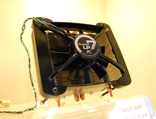 The Freezer series is dearer than the Alpine series for their use of heat pipes. This is a low profile version of the current Freezer 7 series and is aptly named as the Freezer 7 LP. Dual heat pipes with optimized heat sink design for low profile Intel systems, and a 80mm fan that's temperature controlled by PWM signal. Expected to retail by July 2007.