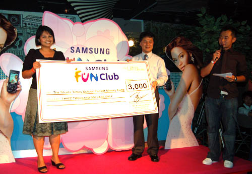 Samsung Fun Club donated SG$3000 to the Straits Times School Pocket Money Fund.