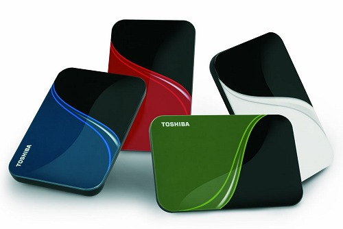 Toshiba's Portable HDD series come in 320/500/640GB sizes and are available in the following colors:- liquid blue, komodo green, rocket red and vivid white.