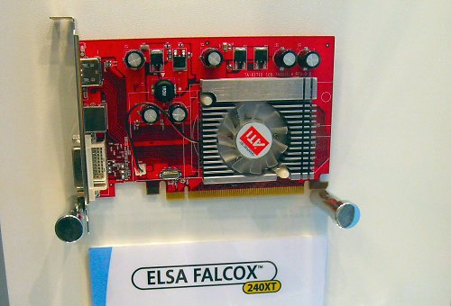 Elsa gives us a glimpse of bare graphics card PCBs of their latest ATI Radeon HD 2400 XT (RV610). 700MHz core/1.4GHz memory clock speeds, 256MB 64-bit GDDR3, DX 10 and SM 4.0.