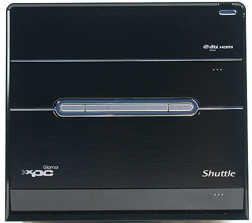 The familiar facade of Shuttle's G5 chassis. Of course, there is now additionally the 'Glamor XPC ' label and even DTS Connect and HDMI logos in case you weren't paying attention to its multimedia prowess.