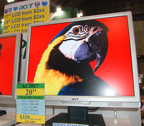20.1-inch monitors continue to be popular with consumers and Acer's AL2017 is very affordable at only $339. Its native resolution of 1440 x 1050 is however a bit low.