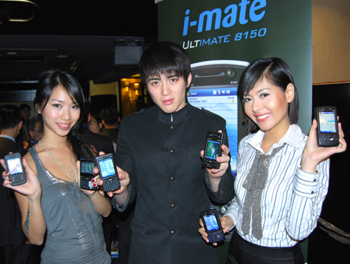 The six i-mate devices, showing its true purpose as both a mobile office device and a mobile entertainment platform.