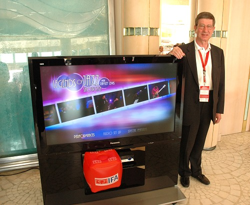 Mr. Peter Weber, Corporate Communications Manager, Panasonic Corporate Communications Europe, with a 50-inch plasma TV from Panasonic.