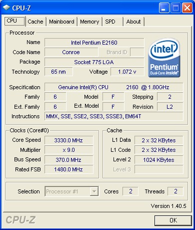 And there you have it folks - 3.33GHz out of an entry-level E2160 dual-core processor.