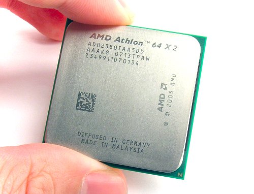 Our sample chip still has the Athlon 64 X2 etched on it, but retail models should only show the new Athlon X2 naming scheme.