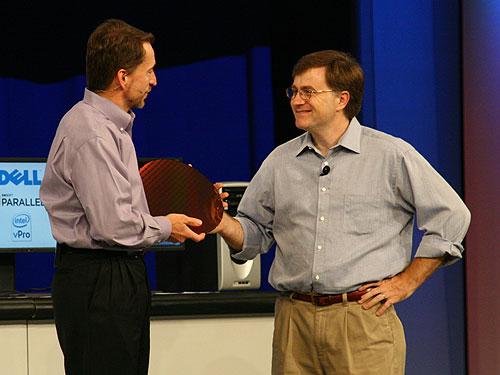 "Pat Gelsinger, senior vice-president and general manager Digital Enterprise Group, and Jim Brayton, Intel Nehalem project manager, with the next generation ""Nehalem"" product wafer."