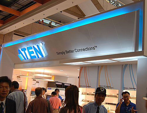 Known primarily for its KVM switch solutions for both enterprise and the rare power users, ATEN's booth bores the company's simple but commendable slogan.