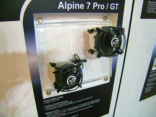 New Alpine 7 series coolers for the Intel LGA775 platform comes in both 90mm (Pro) and 80mm (GT) designs with PWM fan control.
