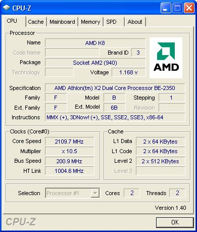 test setup amd athlon x2 be 2350 attacking the power efficiency