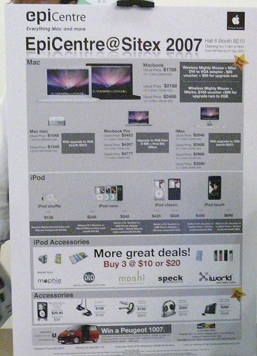 You can probably see the prices here if you squint hard enough. If not, the highlights include the Macbook starting from $1788 with freebies like a $80 voucher, $99 RAM upgrade and the wireless Mighty Mouse.