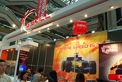 G.Skill seems to be focused on the enthusiast market with memory modules that are more overclockable than your average module. Witness how that approach is reflected in the adrenaline drenched booth decor.