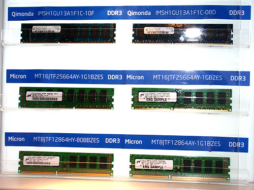 Last year, we saw lots of FB-DIMMs. This year, it's all about DDR3. Some of the validated DDR3 modules were on display at their booth.