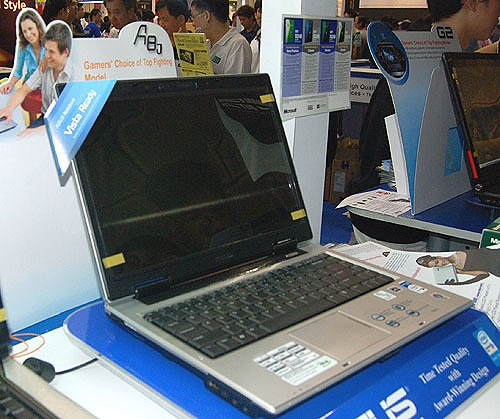 The A8J is the main workhorse series of ASUS notebooks. Various configurations are available but some of the more common specs include the 14-inch WXGA screen, 1GB DDR2, 120GB HDD, VGA webcam, card reader and Bluetooth 2.0. A wide choice of Core 2 Duo CPU speeds and a graphics configurations ranging from NVIDIA's Go 7700 model to ATI's Mobility Radeon X2300 is available.