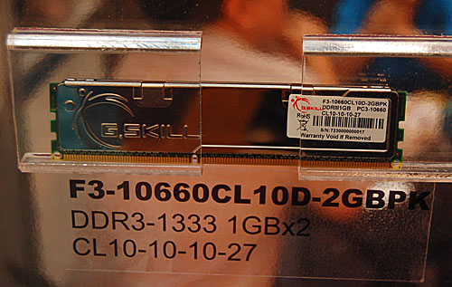 The highest end DDR3 memory module at the moment from G.Skill is this DDR3-1333 module.