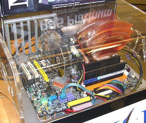 The demonstration system used the new MSI P35 Platinum motherboard, paired together with a soon-to-be released GeForce 8600 GT Diamond Plus graphics card.