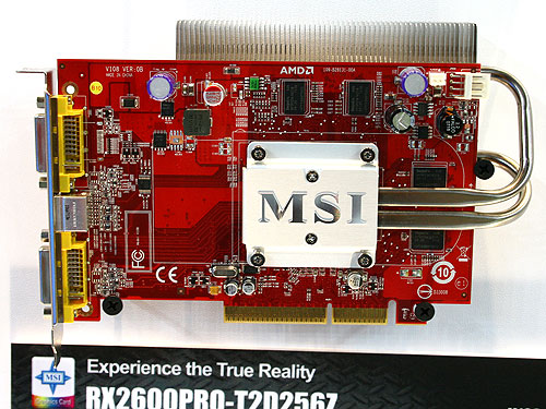 The MSI RX2600PRO-T2D256Z is quite similar to the other Radeon HD 2600 PRO shown above except that this card comes with a lower memory clock speed of only 800MHz and it's based on the AGP interface. The passive heatsink has also been relocated to the back of the card.