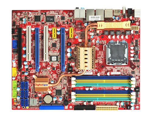 Pretty much what to expect from a full-featured high-end motherboard. Apart from the legacy PS/2 connectors, you get optical and coaxial S/PDIF, FireWire, two eSATA, two LAN, four USB 2.0 ports and analog surround audio jacks. Our board is missing the Foxconn Digital Connector, which is located in the space between the eSATA and S/PDIF ports. Retail boards will all feature it.