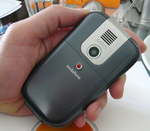 The Palm Treo 500v utilizes a 2.0 megapixel camera, though its positioning is right smack in the center, a truly odd location.