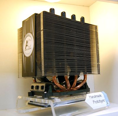 The most aggressive CPU cooler by Arctic Cooling yet. This unit has a dual tower heat sink design consisting of 8 heat pipes and a total of 226 closely spaced fins! In the center of this cooler design rests a 120mm fan unit to enhance the cooler's operation and handle the most extreme CPUs out there currently and in the near future (universal CPU mounting mechanism). It even boasts the ability to cool the surround voltage regulators and the chipset as well. Available in June this year, this is the Freezer Xtreme - a very fitting name indeed.