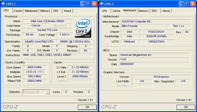 Overclocking and Test Setup : ASUS Blitz Formula Special
