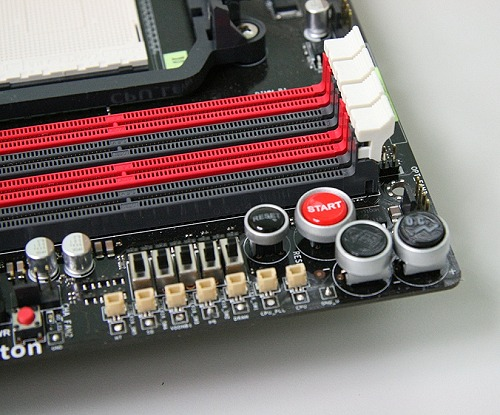 Like the Formula class motherboard, besides the handy Power and Reset buttons, ASUS has two of its proprietary features here with Core Unlocker, which unlocks your AMD processor if it has cores disabled and the Turbo Key II auto-overclocking utility. Even cooler is the inclusion of individual control switches for the PCIx x16 slots functionality. And in front of that is ProbeIT, another of ASUS' ROG features which is basically a set of five voltage detection points for enthusiasts who prefer to use a multimeter to take readings.