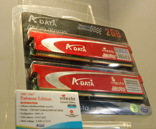 Although DDR3 memory modules are not be available yet in retail, DDR2 memory is, and speeds are increasing rapidly, with this Extreme Edition module from A-DATA rated at 1200MHz DDR, incidentally also the highest speed grade from A-DATA.