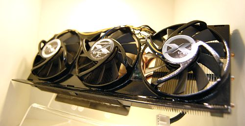 With ATI's next generation GPU looming in the horizon, Arctic Cooling has already anticipated the need for them to offer a robust, yet quiet and cool solution. Enter the Accelero Xtreme, catered for both the upcoming R600 based graphics cards as well as the current G80 series. It is also CrossFire and SLI compatible as long as there's adequate spacing on mainboards to accommodate this whopper of a cooler. It consists of triple 80mm fans (PWM controlled), 5 heat pipes, 107 heat radiating fins and integrated memory and voltage regulator cooling. Expect it to be launched in May - probably that's when the heavily delayed ATI's graphics cards will hit the shelves.