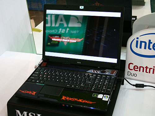 The MSI GX600 may look like just another 15.4-inch wide screen notebook based on the Intel Centrino Duo technology. However, this notebook features the world's first laptop with a Turbo button that overclocks the processor on demand, with a single touch of a button. The notebook is based on the Intel PM965/ICH8-M chipset and is powered by an NVIDIA GeForce 8600M GT graphics with 512MB graphics memory. The notebook also comes with a 1.3Mpixel webcam and an external eSATA port.