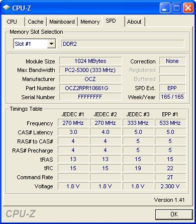 CPU-Z report on the OCZ Reaper HPC DDR2-1066 memory. Two things to notice is that the modules are actually lower speed DDR2-667 chips and that EPP is supported.