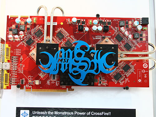 This monstrous card comes with two Radeon HD 2600 XT VPUs, each with 512MB of DDR3 memory. The cores on this card are clocked at 800MHz while its memory will run at 1GHz. Unlike the other dual VPU solutions from other vendors, this card comes with only two DVI connectors.