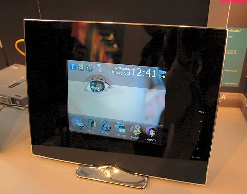 Enter the Wireless Pixxa digital photo frame. Unlike most traditional digital photo frames that play a slideshow and background music, this device does a whole lot more. Highlights include Live New, Photo Messenger, Live Calendar, in addition to the usual photo, video and audio playback support. It can offer such a broad range of services because its custom GUI and operating platform relies on the Internet. Just plug this device to your home network and enjoy the Internet collaboration functions it supports. Specs: an 800x600 resolution 4:3 screen, built-in speakers, on-board memory of up to 2GB, supports MS/MMC/SD/CF/XD memory cards, USB host and slave ports, Wi-Fi 802.11b/g support, real-time clock (syncs with the Internet) and a remote control. Expected SRP is about US$350, but it could be worth it.
