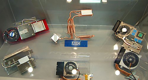 Some of the cooler designs that AVC has created for graphics cards, with an emphasis on the heat pipe technology used extensively here. You may even find a couple of them familiar in retail products.