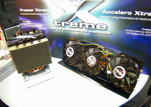 Artic Cooling's Xtreme range of coolers for both CPU and GPU. To the left, the Freezer Xtreme is an 8 heat-pipe twin tower silent cooler for both Intel and AMD. To the right, we have the Accelero Xtreme, 3 80mm fans, 5 heat-pipes, 107 fins and compatible with the latest NVIDIA GeForce 8800 and ATI Radeon HD 2900 cards.