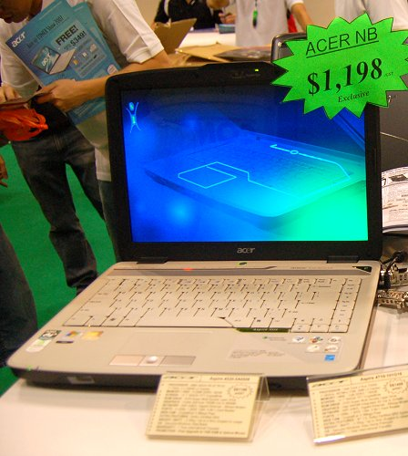 Its design will surely be a hit with students and so is its price of just $1,198. Acer is throwing in a 1GB RAM upgrade free into this notebook that has an AMD Turion 64 MK-38 processor (2.2GHz) with 80GB HDD, DVD-Super Multi Double Layer Drive, GeForce 7000M graphics and genuine Microsoft Windows Vista Home Basic.